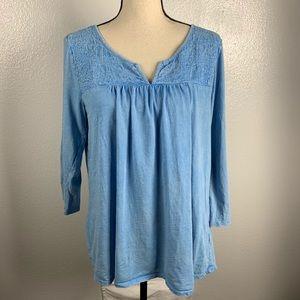 Sonoma Blue V Neck Embroidery Too